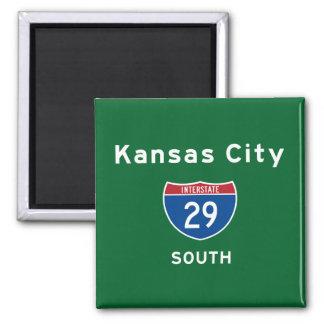 Kansas City 29 2 Inch Square Magnet