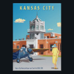 """Kansas City Airport Art Deco Poster<br><div class=""""desc"""">Designed by aviation artist Rosie Louise in 2010 this is a contemporary design NOT an old poster reproduced by a non-artist.This shows the long demolished Kansas City Airport in the &#39;twenties in its Art Deco glory. The aircraft depicted is a Travel Air 5000</div>"""