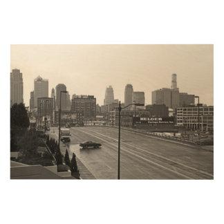 Kansas City céntrico Impresiones En Madera
