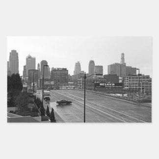 Kansas City céntrico Pegatina Rectangular