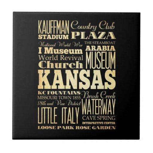 Kansas City del arte de la tipografía del estado d Tejas