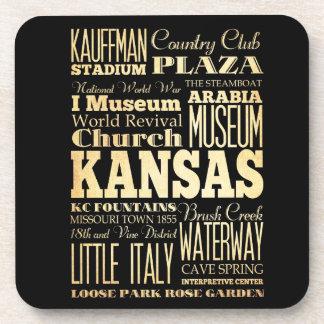 Kansas City del arte de la tipografía del estado d Posavasos De Bebida