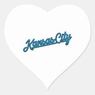 Kansas City in cyan Heart Sticker