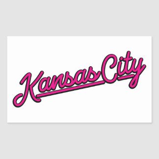 Kansas City in magenta Rectangular Sticker