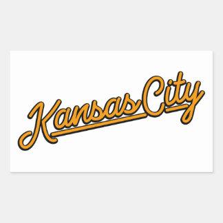 Kansas City in orange Rectangular Sticker