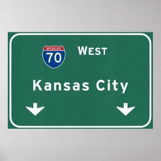 Kansas City KC Missouri Interstate Highway Freeway Poster