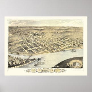 Kansas City, mapa panorámico de KS - 1869 Póster