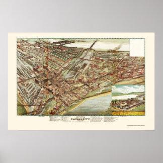 Kansas City, mapa panorámico de KS - 1895 Póster