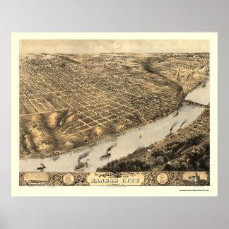 Kansas City, mapa panorámico del MES - 1869 Póster