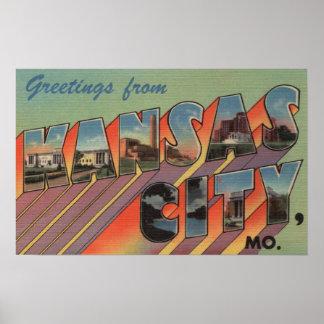 Kansas City, Missouri - Large Letter Scenes Poster