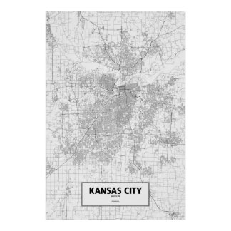 Kansas City, Missouri (negro en blanco) Póster
