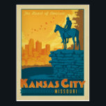 "Kansas City, MO Postcard<br><div class=""desc"">Anderson Design Group is an award-winning illustration and design firm in Nashville,  Tennessee. Founder Joel Anderson directs a team of talented artists to create original poster art that looks like classic vintage advertising prints from the 1920s to the 1960s.</div>"