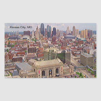 Kansas City, MO Skyline Memorial Liberty Area Rectangular Sticker