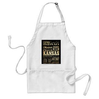 Kansas City of Missouri State Typography Art Adult Apron