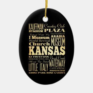 Kansas City of Missouri State Typography Art Ceramic Ornament