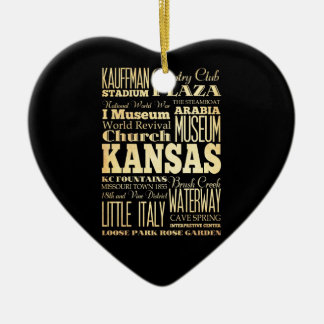 Kansas City of Missouri State Typography Art Double-Sided Heart Ceramic Christmas Ornament