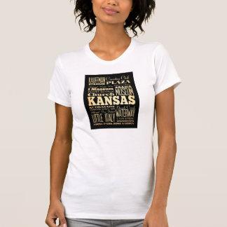 Kansas City of Missouri State Typography Art Shirt