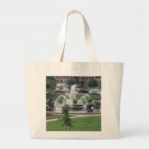 Kansas City Plaza fountain Tote Bags