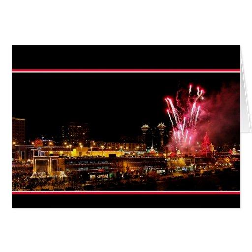 Kansas City Plaza Lights, Fireworks Greeting Card