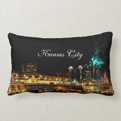 Kansas City Plaza Lights, Fireworks Lumbar Pillow