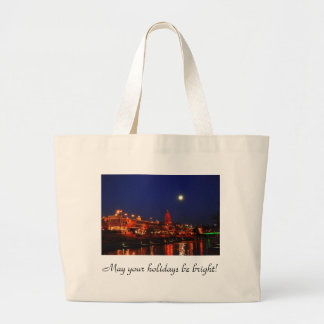 Kansas City Plaza Lights Under a Full Moon Large Tote Bag