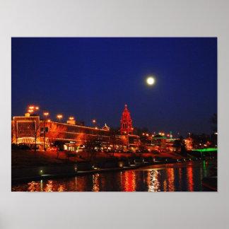 Kansas City Plaza Lights Under a Full Moon Poster