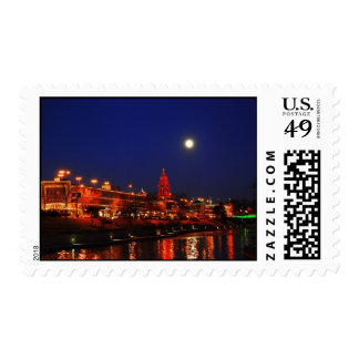 Kansas City Plaza Lights Under Full Moon Postage Stamps