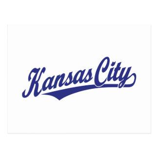 Kansas City script logo in blue Postcard