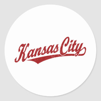 Kansas City script logo in red distressed Classic Round Sticker