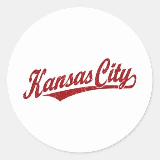 Kansas City script logo in red distressed Sticker