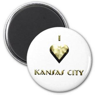 Kansas City -- Shimmering Gold Refrigerator Magnet