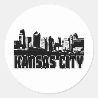 Kansas City Skyline Classic Round Sticker