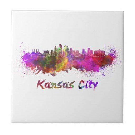 Kansas City skyline in watercolor Tejas Cerámicas