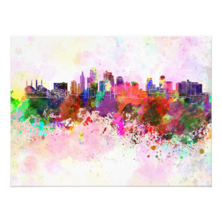 Kansas City skyline in watercolor background Photo Print