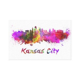 Kansas City skyline in watercolor Canvas Print