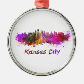 Kansas City skyline in watercolor Metal Ornament