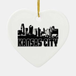 Kansas City Skyline Double-Sided Heart Ceramic Christmas Ornament