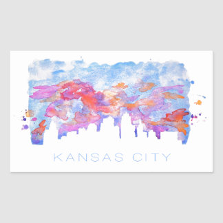 Kansas City Skyline Watercolor Rectangular Sticker