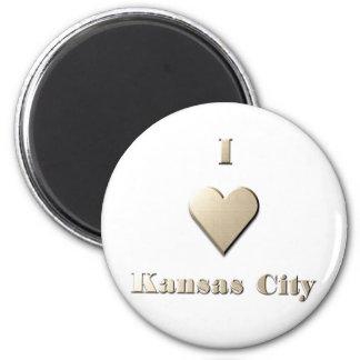 Kansas City -- Steel Tan 2 Inch Round Magnet