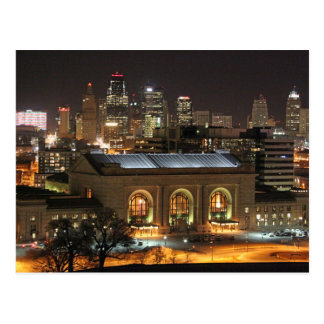Kansas City Union Station at Night Postcard
