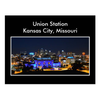 Kansas City Union Station in Blue Postcard