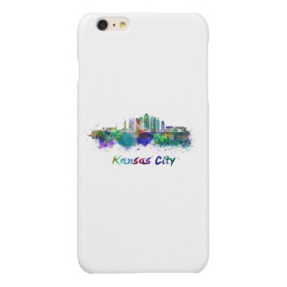 Kansas City V2 skyline in watercolor Glossy iPhone 6 Plus Case