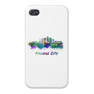 Kansas City V2 skyline in watercolor iPhone 4/4S Cases