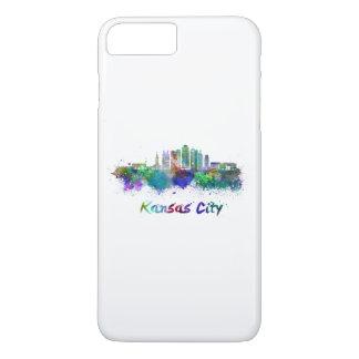 Kansas City V2 skyline in watercolor iPhone 8 Plus/7 Plus Case