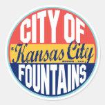 Kansas City Vintage Label Classic Round Sticker