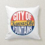 Kansas City Vintage Label Throw Pillow