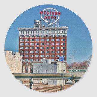 Kansas City's Western Auto Sign Classic Round Sticker