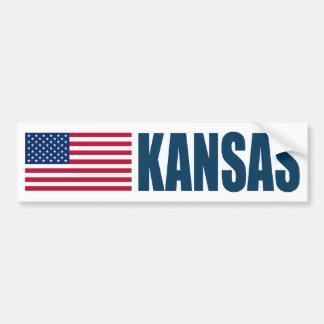 Kansas con la bandera de los E.E.U.U. Pegatina Para Auto