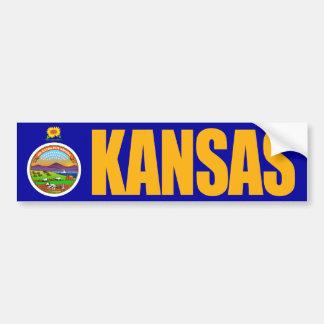 Kansas con la bandera del estado pegatina para auto