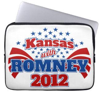 Kansas con Romney 2012 Fundas Computadoras
